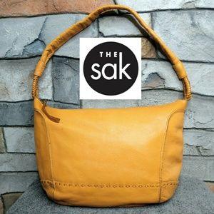 The Sak Genuine Leather Yellow Shoulder Hobo Bag